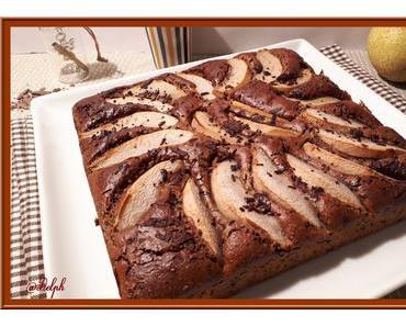 Gâteau aux poires noisettes et chocolat