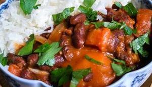 Soirée fraîche Curry haricots rouges courge