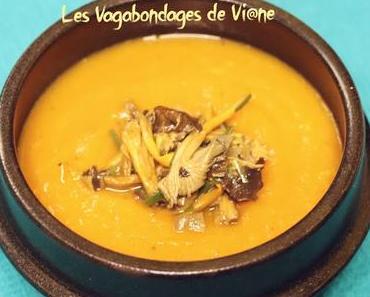 Potage carotte, butternut, orange et chanterelles