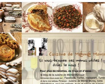 menus de la cuisine de mémé Moniq du 30 janvier au 5 février