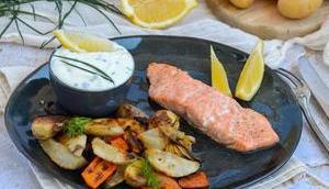 Saumon légumes hiver rôtis four