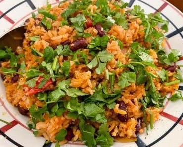 Spanish Rice – Riz à la tomate et aux haricots (et tempeh caramélisé)