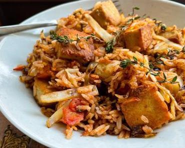 A la française – Riz sauté au tofu, à la tomate et au thym